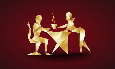 girl serves coffee to his boss. origami style