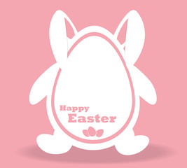 White Easter Bunny on a pink background.