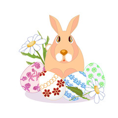 rabbit sitting on Easter eggs, daisies on a white background