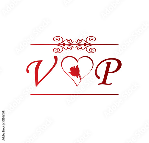 quotvp love initial with red heart and rosequot stock image and