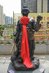 Hong Kong, China - October 3, 2015: Chinese Zodiac Bronze Monkey Stature at Sik Sik Yuen Wong Tai Sin Temple