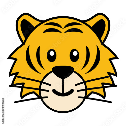 simple cartoon of a cute tiger - Simple Cartoon Pics