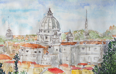 Rome overview watercolor