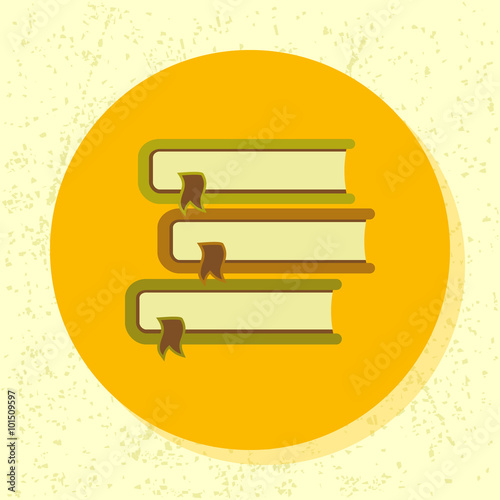 Vector Round Icon Pile Of 3 Books Symbol Of Education Book Course