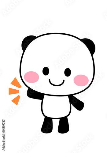 ポップなパンダのイラスト 片手をあげるfotoliacom の ストック写真と