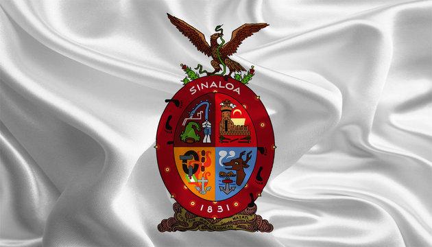 Waving Fabric Flag of Sinaloa, Mexico
