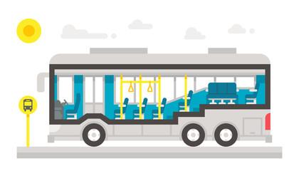 Flat design bus interior infographic