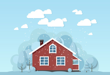 Winter house facade. Traditional cottage. Vector illustration.
