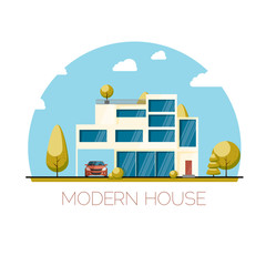 Modern house. Flat design vector illustration.