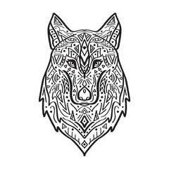 Vector black and white illustration of tribal style wolf with ethnic ornaments. American indian motifs. Totem tattoo. Boho design.