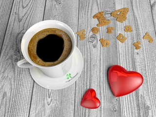 Coffee Cup and saucer with two hearts on a wooden table..