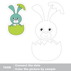 Bunny and Egg to be traced. Vector trace game.
