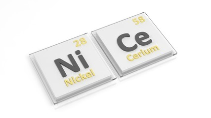 Periodic table of elements symbols used to form word Nice, isolated on white.