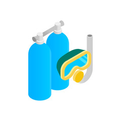 Mask, snorkel and scuba isometric 3d icon