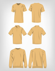 Sport light brown t-shirt, sweater and polo shirt isolated set vector