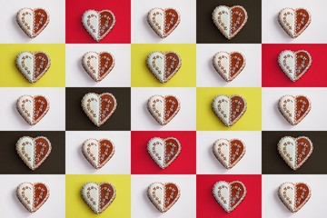 Sweet hearts collage - gingerbread cookies on a white, red, black and yellow background