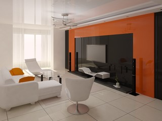 Living room with an orange background.