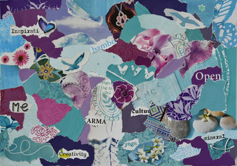 Atmosphere color aqua, blue, purple and pink serenity mood board collage sheet made of teared magazine paper with zen figures, letters, colors and textures, results in art
