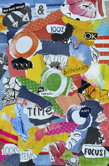 Modern Atmosphere color  blue, red, yellow, green,orange, black and white mood board collage sheet made of teared magazine paper with figures, letters, colors and textures, results in art