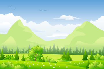 Wall Mural - Summer landscape with meadows and mountains
