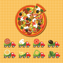 Logo for the pizza delivery service. Set