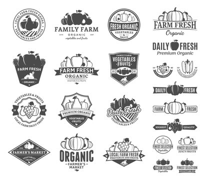 Fruits and Vegetables Logo, Labels, Fruits and Vegetables Icons