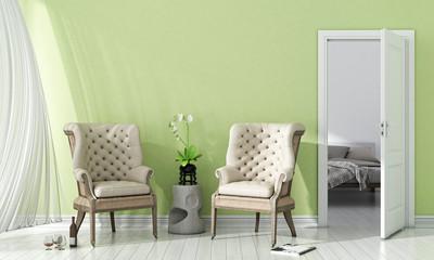 Modern bright interior. 3D render