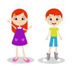 Vector illustration of happy young boy and girl with freckles
