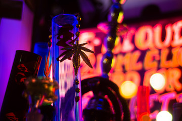 Bong and gold marijuana leaf in shop window. Drug paraphernalia seen in the window of a shop selling supposedly legal highs, in Bath, UK