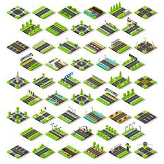 City Map Set Tiles Isometric Vector
