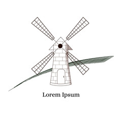 Windmill. Building for grinding flour. The production of bread.
