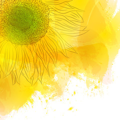 Sunflower. Bright Sunny yellow flower on watercolor background.