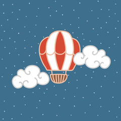 Vector greeting card with air circus ball. You can change the background. children's drawing