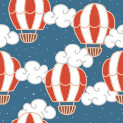 vector seamless pattern with circus air balloon in the night sky. You can change the background. children's drawing