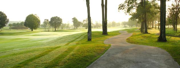 Foto op Aluminium Golf beautiful golf course at the sunset, sunrise time.