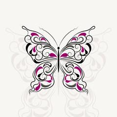 Vintage pattern in shape of a butterfly