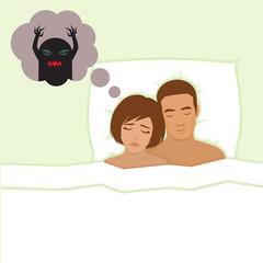 nightmare, vector cartoon illustration of person having bad dreams