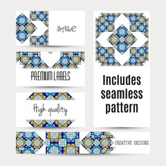 Business cards pattern with morocco ornament. Includes seamless pattern