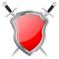 Metal Shield and swords. Red glass plate. Shiny icon.