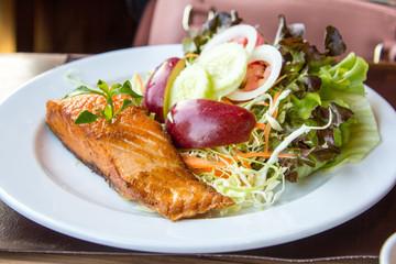 Salmon fish steak.