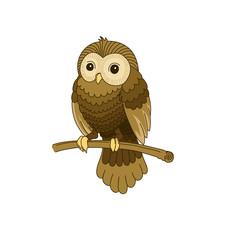 Cute hand-drawn grey owl