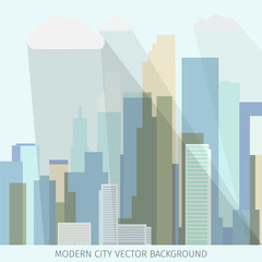 conceptual vector illustration with modern business city