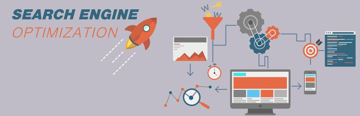 concept web banner for Search Engine Optimization. Vector landing page