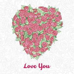 stylized hand drawn vector bouquet in shape of heart