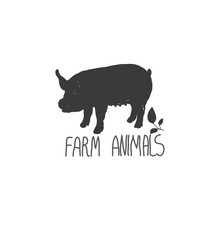backgrounds with monochromatic picture of animal farm pigs with a sprig of leaves