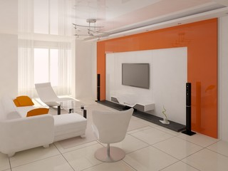 Bright living room with an orange frame.