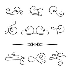 Set of simple calligraphic swirls and dividers
