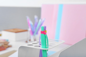 Two pens on a blurred background