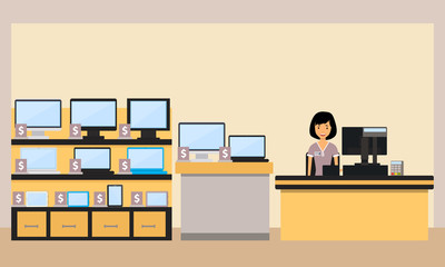 Happy woman seller in the electronics store. Vector illustration