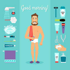 Man and necessary for the morning hygiene items